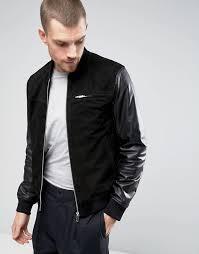 kiomi kiomi suede er jacket with leather sleeves men black