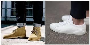 left clark s desert boots right common projects sneakers photos facebook com clarksshoesus matthew sperzel getty images