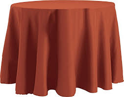 bright settings 90 inch round tablecloth flame ant basic polyester terra cotta
