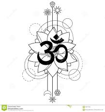 татуировка Om и лотоса иллюстрация вектора иллюстрации