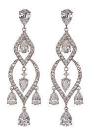 image of nadri marquise cut cz open chandelier drop earrings