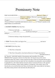 Promissory Note Word Template Free Promissory Note Template Download Secured Promissory