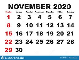 November Month Calendar 2020 English Usa Stock Vector