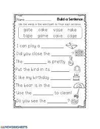 Cvc words short e matching worksheets. Cvce Finish The Sentence Worksheet