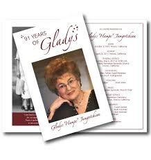 Memorial Program Custom Memorial Program Gladys 48 Years Of Gift Giving