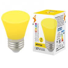 <b>Лампа</b> светодиодная <b>LED</b>-<b>D45</b>-<b>1W</b>/<b>YELLOW</b>/<b>E27</b>/<b>FR/С BELL</b> ...