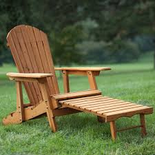 Coral Coast Big Daddy Reclining Tall Wood Adirondack Chair With Pull Out Ottoman Natural Walmart Com