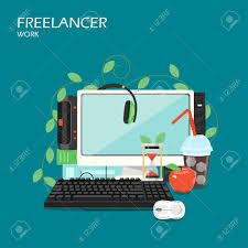 freelance computer services freelancer work vector flat illustration desktop computer loud