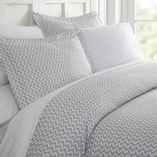 puffed chevron patterned performance light gray queen 3 piece duvet cover set