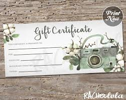 Floral Cotton Camera Printable Gift Certificate Template