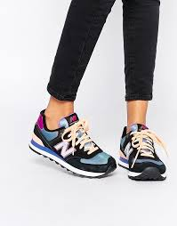 new balance tennis shoes womens. image 1 of new balance 574 multicolor sneakers tennis shoes womens