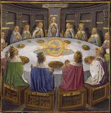 holy grail at the round table 1475 ad depicting 15 grand officers in biblioteque nationale de france in lancelot and the holy grail mcript