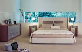 Small Bedroom Cupboard Black White Round Pendant Lamp Gray Fabric Headboard Bed White