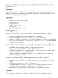 Professional Personnel Specialist Templates To Showcase Your Talent Interesting Employment Specialist Resume