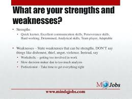 Examples Of Strength And Weakness Weaknesses For Resume View Sample Weaknesses Interview Examples
