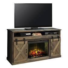 farmhouse 66 fireplace stand console in distressed barnwood w sliding barn doors