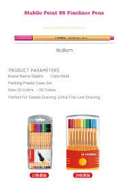 Us 23 19 15 Off Stabilo 88 Colored Fiber Pens Drawing Pen School Stationery Office Supplies Colored Art Marker Pen 0 4mm Gel Pens Fineliner Set In