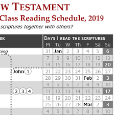 New Testament Reading Chart 2019 Come Follow Me Class Reading Schedule New Testament 2019