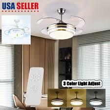 42 retractable blade ceiling fan light remote control folding fan lamp lighting