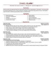 Data Entry Clerk Resume Sample Perfect Resume Examples Pinterest