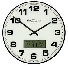 office wall clocks large. Wm. Widdop White Glass Office Wall Clock - LCD Day/Date Calendar Dial Clocks Large