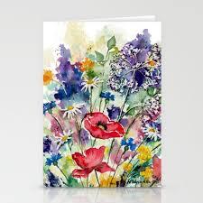 Spring Photo Cards Spring Flowers Watercolour Stationery Cards By Monikawyszynska