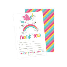 Blank Thank You Notes 25 Unicorn Kids Thank You Cards Fill In Thank You Notes For Kid Blank Personalized Thank Yous For Birthday Gifts Stationery For Children Boys And