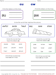 A collection of english esl worksheets for home learning, online practice, distance learning and english classes to teach about phonics, phonics. Au Aw Worksheets Phonics Worksheets Word Family Worksheets Phonics