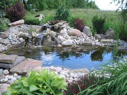 Lawn & Garden:Natural Look Backyard Koi Fish Ponds Designs Small Creek And  Stone Waterfall