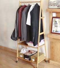 Coat Hanger Storage Rack Portable Multi Function Bamboo Double Shelf Rail Clothes Hanger 26