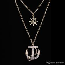 set new hot fashion crystal anchor pendant necklace navy style anchor rudder personality long necklace jewelry for wom canada 2019 from holaquinta