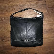 398 coach park black pebble leather hobo large tote shoulder bag f23293