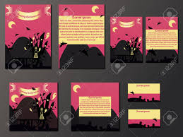 Halloween Business Cards Pink And Yellow Brochures And Business Cards With Halloween Castle