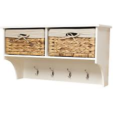 wall hanging cubby storage unit with baskets wicker storage unit with 3 baskets and coat hook