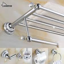 crystal bathroom accessories. European Silver Bathroom Hardware Set Clear Crystal Accessories Chrome Finish Ceramic Base Products O