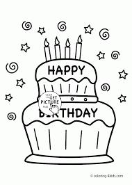 Birthday Cake Coloring Page Free Printable With Big Birthday Cake