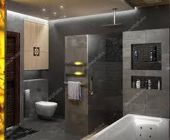 bathroom minimalist design. Bathroom Minimalist Interior Design, Render 3D \u2014 Stock Photo Design