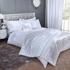 white velvet bedding kayla crushed band diamante stripe detail duvet cover set 1