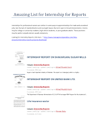 amazing list for internship for reports the document