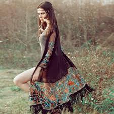 Новая мода для женщин <b>бохо шик</b> бахрома цветочные кимоно ...