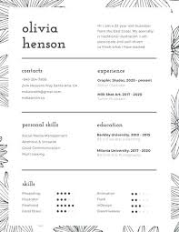 Infographic Resume Templates Black And White Floral Pattern Resume A ...