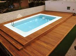 Above Ground Pool Decks Kits With Wooden Deck Around And Small