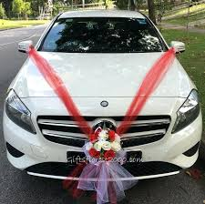 where to wedding car decorations bridal car decoration red on white