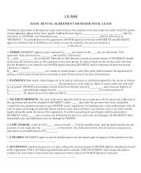 Rental Agreement Simple Lease Basic Rental Agreement Apartment Lease Template Printable