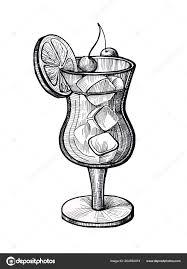 алкоголя коктейль руки Drawn векторные иллюстрации ретро коктейль