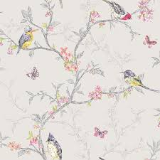 Teal Bedroom Wallpaper Holden Decor Phoebe Birds Wallpaper In Soft Teal Dove Grey White