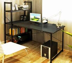 exceeder large workstation wood steel computer desk with bookcase black