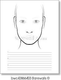 Chart Makeup Young Woman Face Chart Makeup Artist Blank Template Art Print Poster