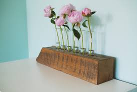 ... Flowers Pink Test Tube Vases White Decoration Wooden Stained  Contemporary Diy Reconciliation Wooden ...