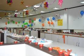 decoration for office. Balloons And Diyas Diwali Decoration Ideas For Office A